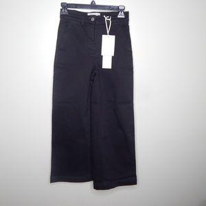 everlane women wide leg crop sz 00 black